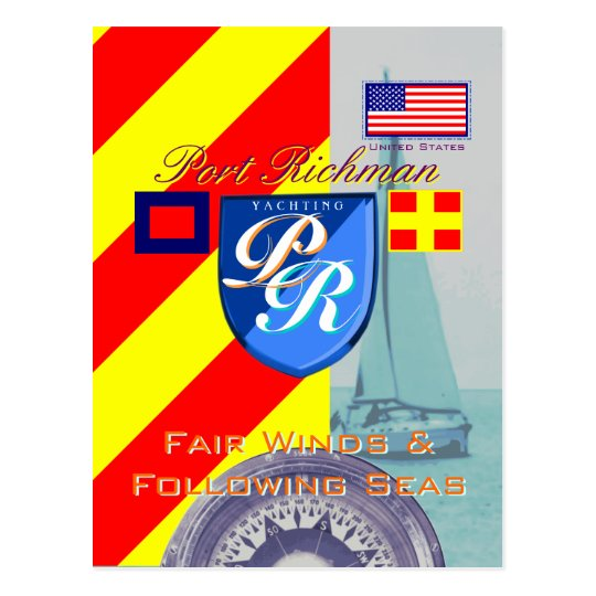 Nautical Saying Fair Winds and Following Seas Postcard