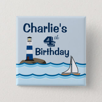 Nautical Scene with Lighthouse and Sailboat 15 Cm Square Badge