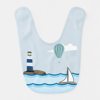 Nautical Scene with Lighthouse and Sailboat Bib