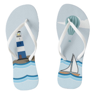 Nautical Scene with Lighthouse and Sailboat Flip Flops