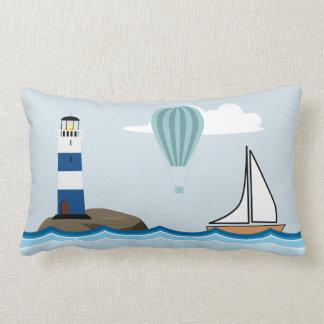 Nautical Scene with Lighthouse and Sailboat Lumbar Cushion