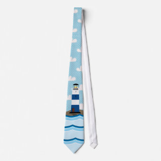 Nautical Scene with Lighthouse and Sailboat Tie