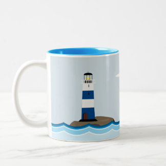 Nautical Scene with Lighthouse and Sailboat Two-Tone Coffee Mug