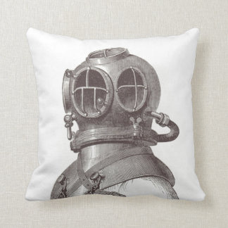 Nautical Scuba Guy Funky Black and White Pillow