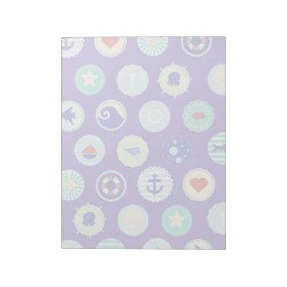 Nautical Sea Blue Sailor Pattern Notepad