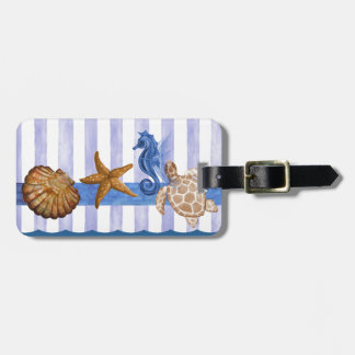 Nautical Sea Creatures Luggage Tag