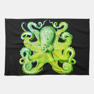 Nautical sea  Octopus decor kitchen towel lime