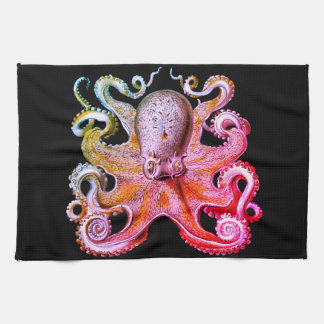 Nautical sea  Octopus decor kitchen towel pink