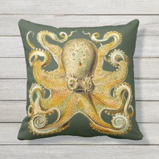 Nautical sea  Octopus decor pillow  gold green