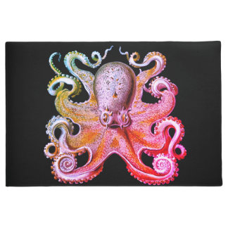Nautical sea  Octopus decor welcome mat pink