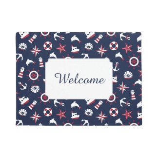 Nautical Sea Pattern | Add Your Text Doormat