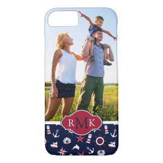 Nautical Sea Pattern| Your Photo & Monogram iPhone 8/7 Case