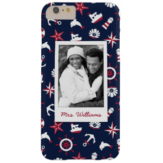 Nautical Sea Pattern | Your Photo & Name Barely There iPhone 6 Plus Case