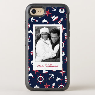 Nautical Sea Pattern | Your Photo & Name OtterBox Symmetry iPhone 7 Case