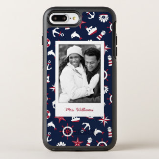 Nautical Sea Pattern | Your Photo & Name OtterBox Symmetry iPhone 8 Plus/7 Plus Case