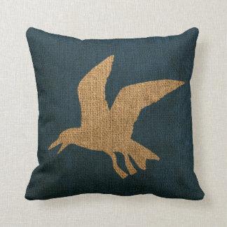 Nautical Seagulls Deep Sea Blue Cushion