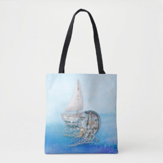 Nautical Seahorse & Fish - Sea - All Over Tote