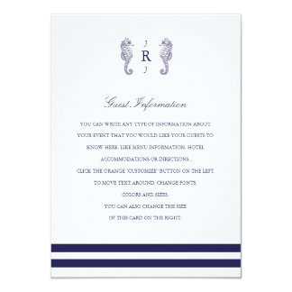 Nautical Seahorse Monogram Wedding Insert Card