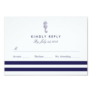 Nautical Seahorse Wedding RSVP Card
