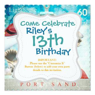 Nautical Seashells Anchor Starfish Beach Theme 13 Cm X 13 Cm Square Invitation Card
