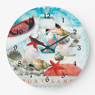 Nautical Seashells Anchor Starfish Beach Theme Large Clock