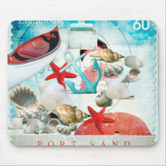 Nautical Seashells Anchor Starfish Beach Theme Mouse Mat