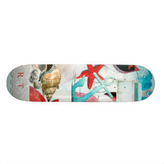 Nautical Seashells Anchor Starfish Beach Theme Skate Board Decks