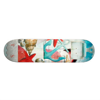 Nautical Seashells Anchor Starfish Beach Theme Skate Board Deck