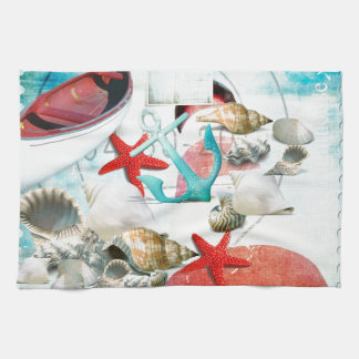 Nautical Seashells Anchor Starfish Beach Theme Tea Towel