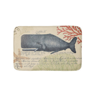 Nautical Seaside Vintage Blue Whale Collage Bath Mats