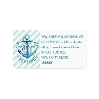 "Nautical ""SEAson's Greetings"" Aqua Stripes Label"