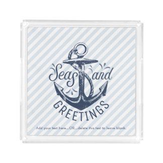 Nautical SEAson's Greetings, Navy Blue Striped Acrylic Tray