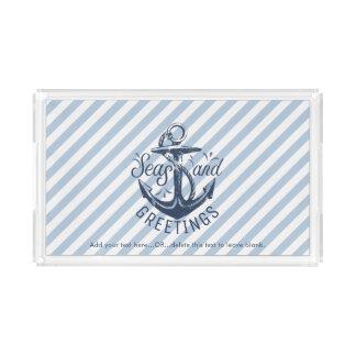 """Nautical """"SEAson's Greetings"""" Navy Striped Acrylic Tray"""