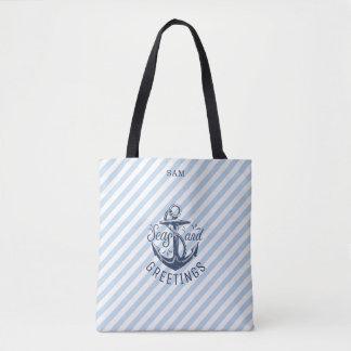 Nautical SEAson's Greetings, Navy Stripes Tote Bag