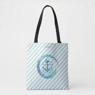 Nautical SEAson's Greetings, Stripes & Watercolor Tote Bag