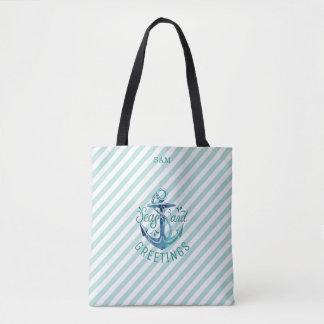 Nautical SEAson's Greetings, Tropical Teal Stripes Tote Bag