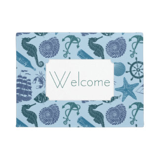 Nautical Shades Of Blue Pattern | Add Your Text Doormat