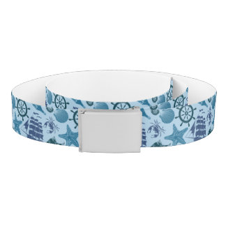 Nautical Shades Of Blue Pattern Belt