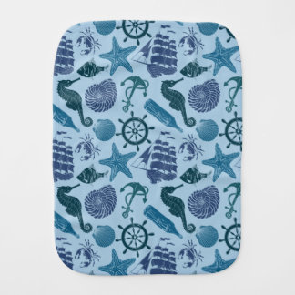 Nautical Shades Of Blue Pattern Burp Cloth