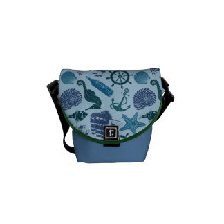 Nautical Shades Of Blue Pattern Courier Bag