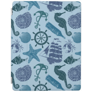 Nautical Shades Of Blue Pattern iPad Cover