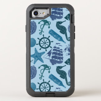 Nautical Shades Of Blue Pattern OtterBox Defender iPhone 8/7 Case
