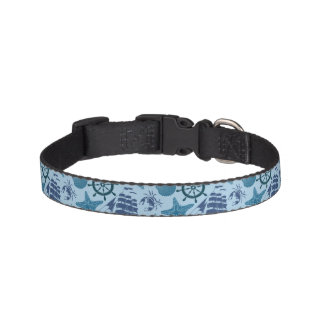 Nautical Shades Of Blue Pattern Pet Collar