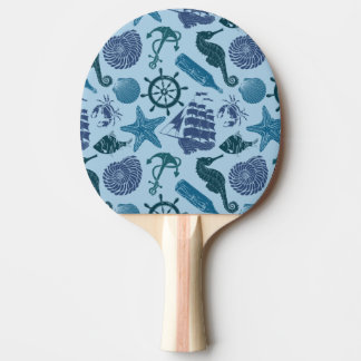 Nautical Shades Of Blue Pattern Ping Pong Paddle
