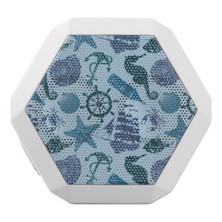 Nautical Shades Of Blue Pattern White Bluetooth Speaker