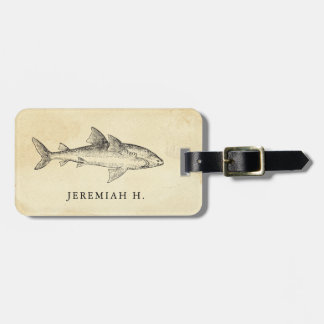Nautical Shark Personalized Monogram Luggage Tag