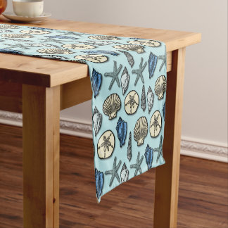 Nautical Shell Starfish Beach Sea Pattern Blue Short Table Runner