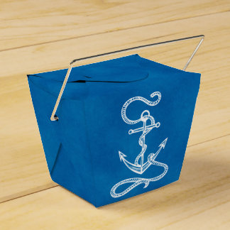 Nautical Ship Anchor Blue Beach Wedding Party Party Favour Box