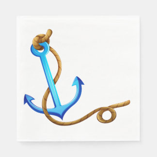 Nautical Ship Anchor Blue Turquoise Wedding Party Disposable Serviette