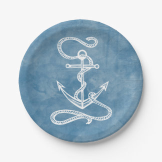 Nautical Ship Anchor Blue Watercolor Wedding Beach 7 Inch Paper Plate